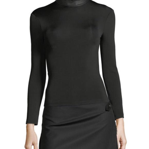 Helmut Lang Bondage Leather Neck Long Sleeve Top